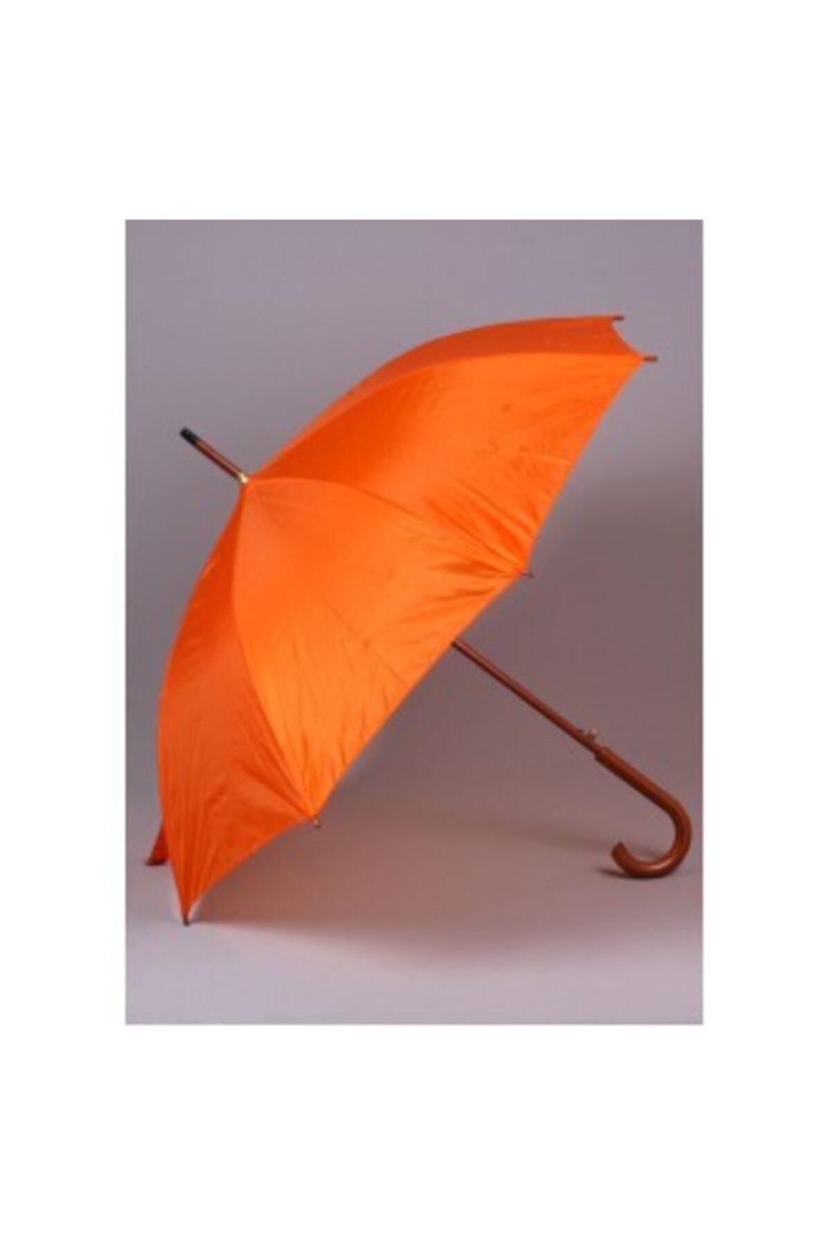 TREND Ahşap Saplı Fiber Glass Kırılmaz Şemsiye (turuncu) 1