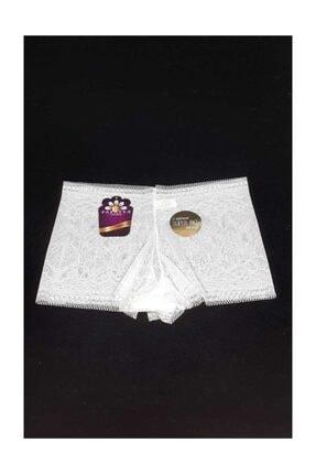 Papatya Kadın Boxer  Ön Arka Düz Kenar Bantlı (12 Adet) Ekru Std