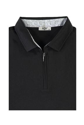 Kiğılı Erkek Siyah King Size Polo Yaka Fermuarlı Tişört 94566