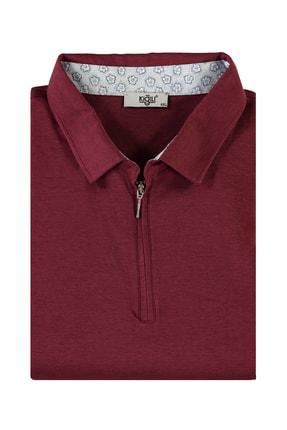 Kiğılı Erkek Koyu Bordo King Size Polo Yaka Fermuarlı Tişört 94566