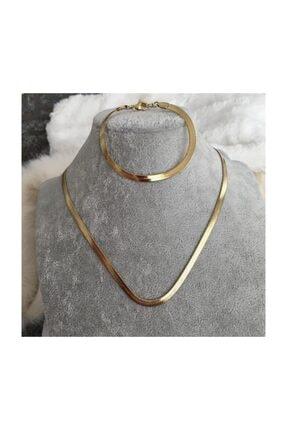ALTINDOLABIM Altın Kaplama Italyan Ezme Zincir Kolye Bileklik Takı Seti Zincir Boyu 60 cm