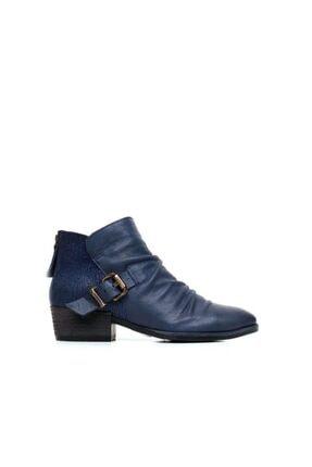 BUENO Shoes Arkadan Fermuarlı Ve Baskı Detaylı Hakiki Deri Kadın Düz Bot 9p1307
