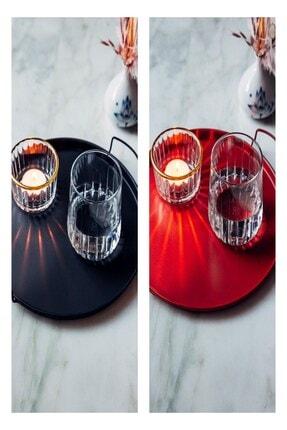 Arma House 2'li Dekoratif Red & Black Metal Yuvarlak Tepsi