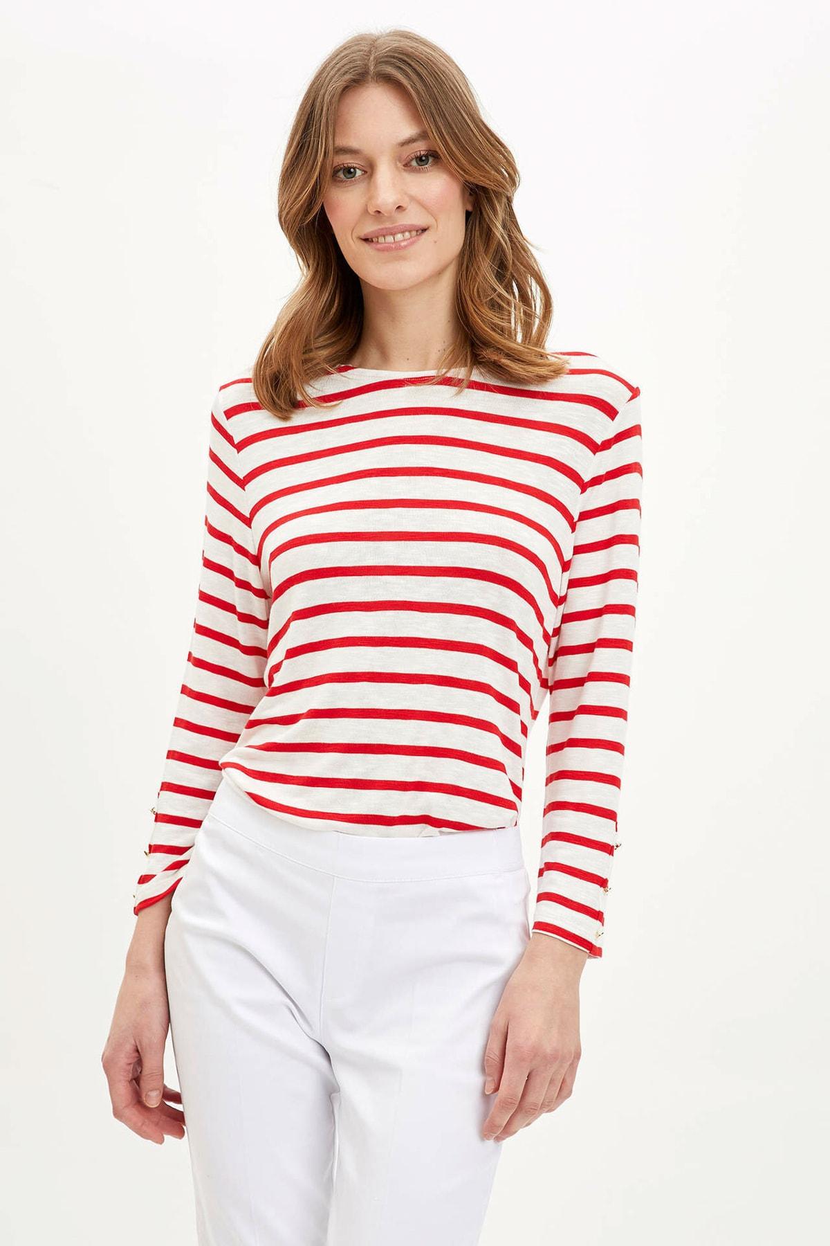 DeFacto Kadın Kırmızı Çizgili Uzun Kollu T-Shirt R3672AZ.20SP.RD227 1