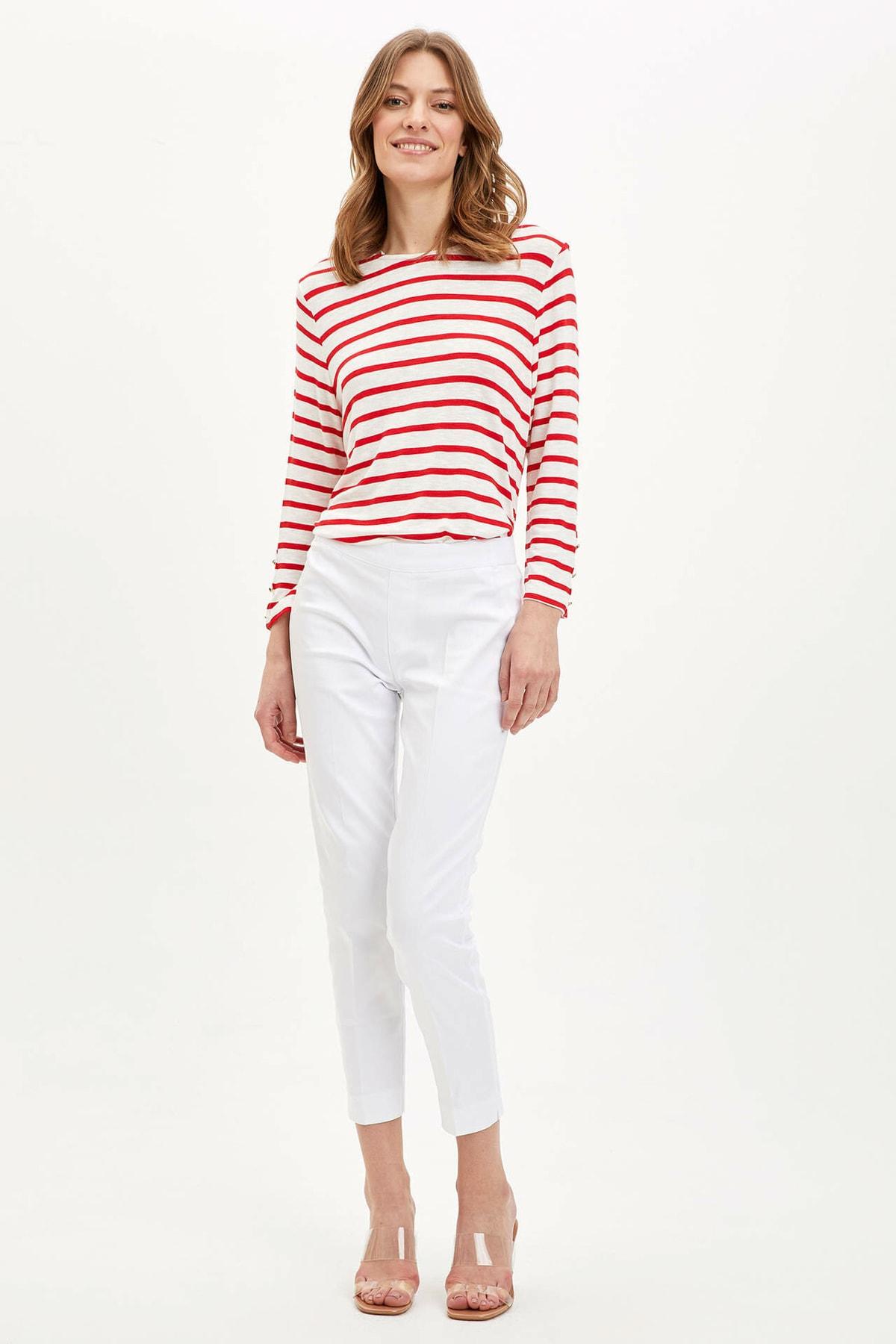 DeFacto Kadın Kırmızı Çizgili Uzun Kollu T-Shirt R3672AZ.20SP.RD227 2