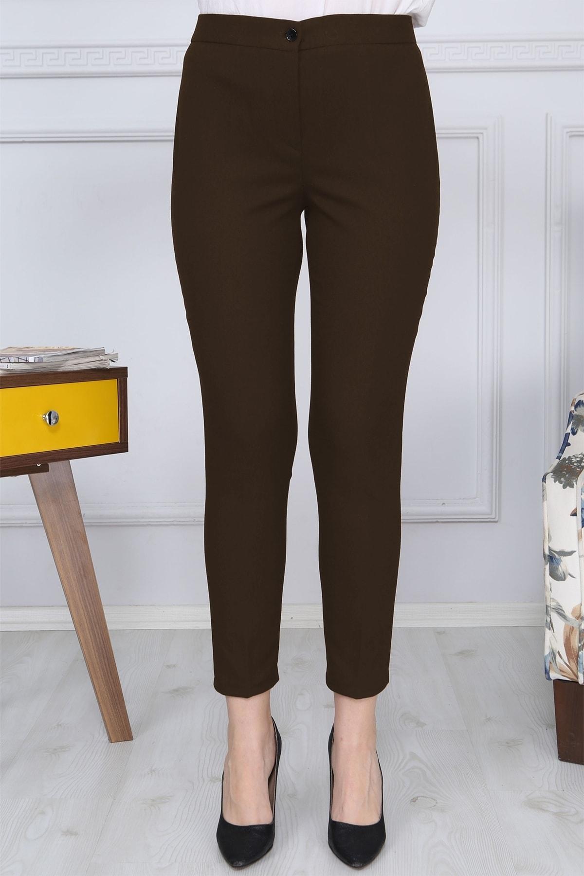 Gül Moda Kahverengi Kemerli Dar Paça Kumaş Pantolon Likralı Cepsiz G011 1