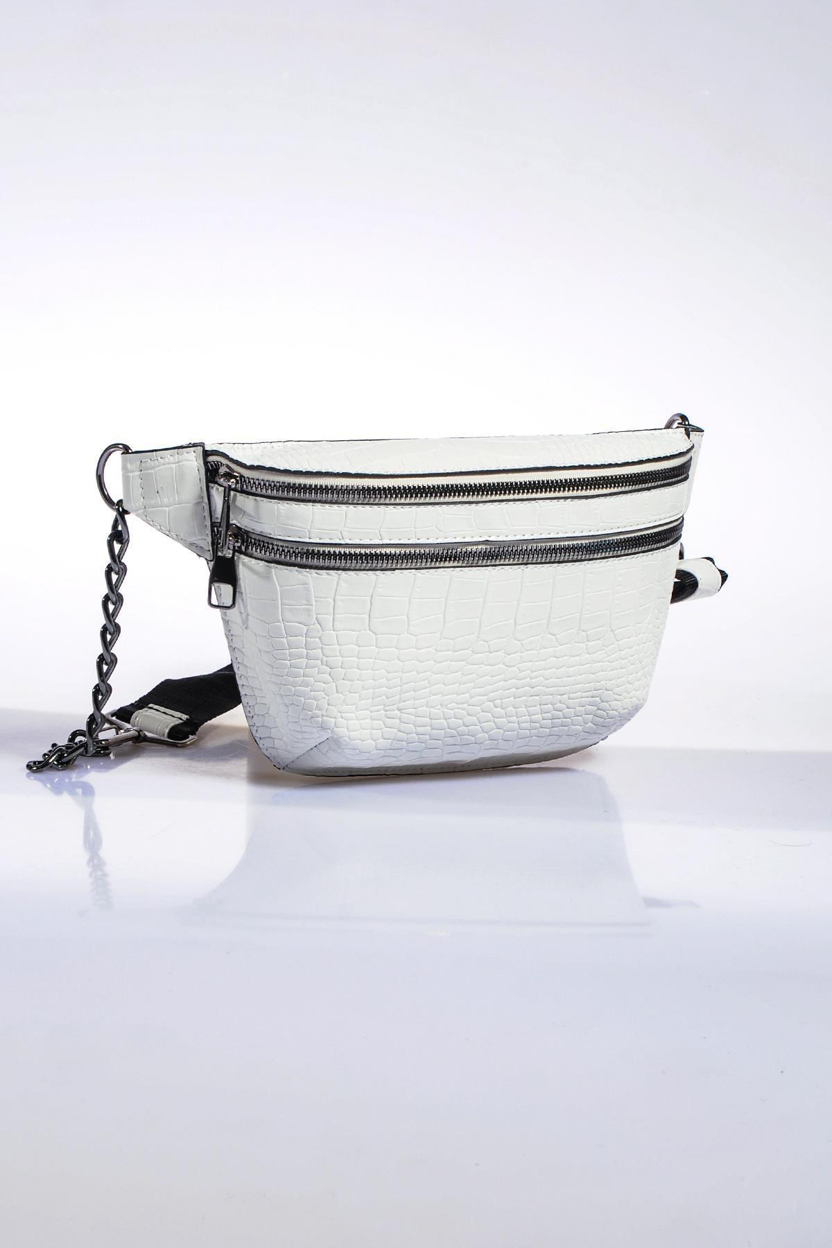 Sergio Giorgianni Kadın Beyaz Bel Çantası sg662-kroko beyaz