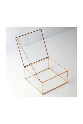 El Crea Designs Bakır Rose Gold Kare Kapaklı Takı Aksesuar Kutusu 15x15x8cm