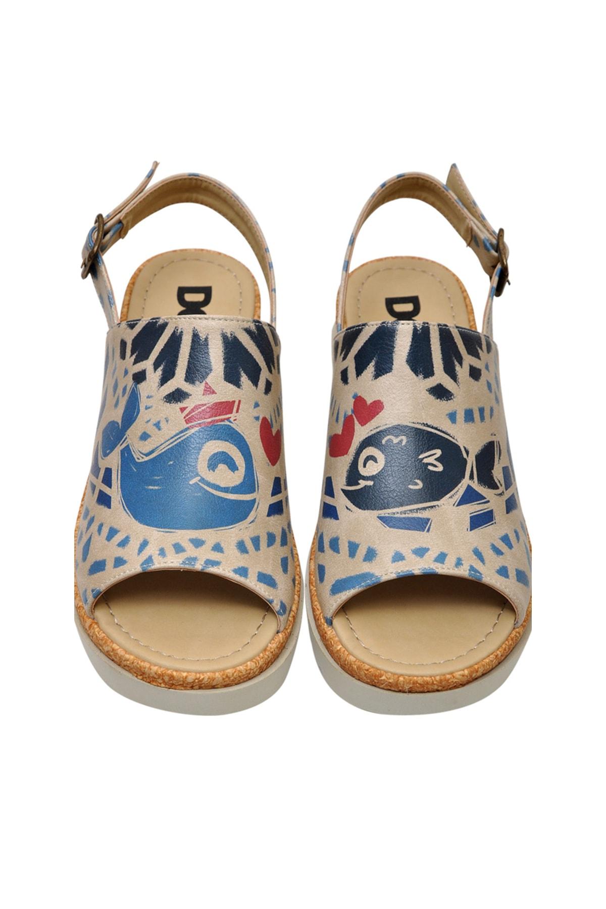 Dogo Fish Love Kadın Kalın Tabanlı Düz Sandalet dgs019-gg010 1
