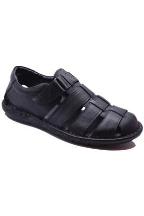 ayakkabiburada 033 Günlük Hakiki Deri Erkek Sandalet Ayakkabı
