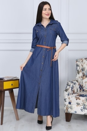 Gül Moda Boydan Düğmeli Kemerli Kot Elbise Indigo