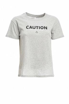 DeFacto Kadın Gri Baskılı Kısa Kollu T-Shirt N9302AZ.20SP.GR210