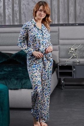Pamuk & Pamuk Gömlek Yaka Somon Leopar Desen Saten Kadın Pijama
