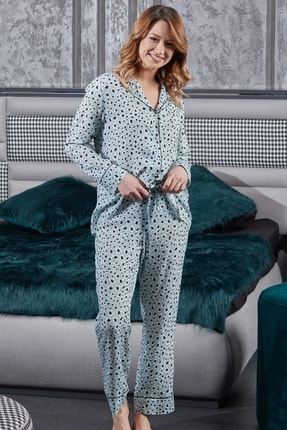 Pamuk & Pamuk Gömlek Yaka Biyeli Mavi Leopar Desen Viskon  Kadın  Pijama