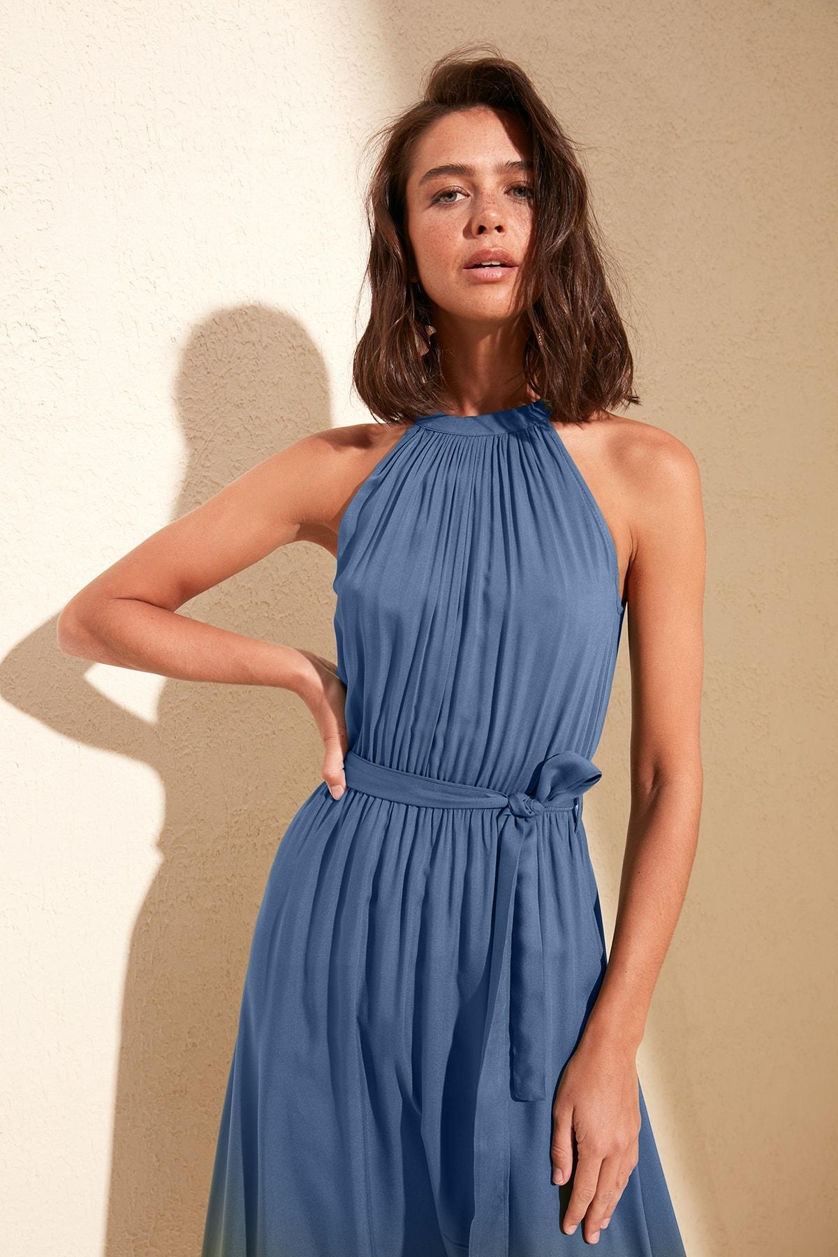 TRENDYOLMİLLA Indigo Kuşaklı Elbise TWOSS19EL0155 2