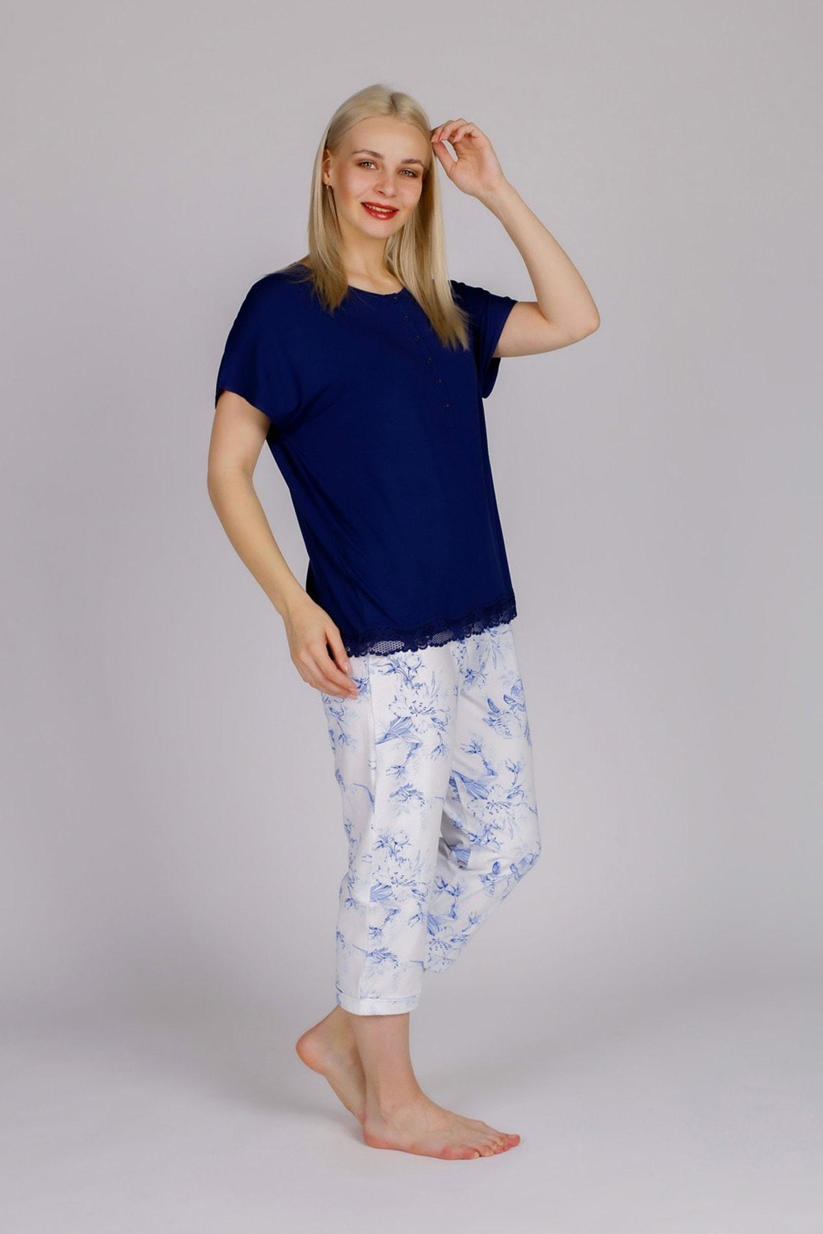 Hays Kadın Lacivert Kısa Kollu Midi Pijama Takımı 1