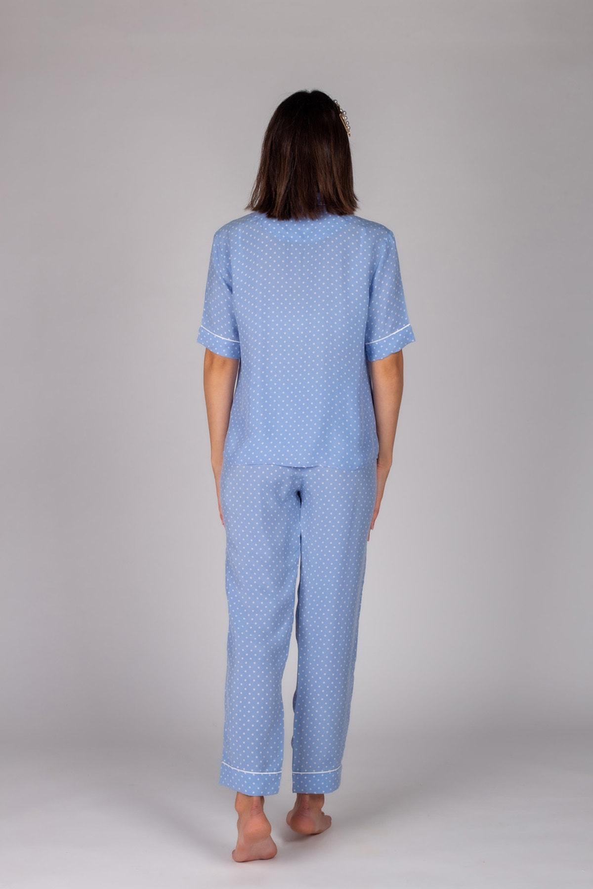 Hays Kadın Mavi Puan Baskılı Gömlek 2