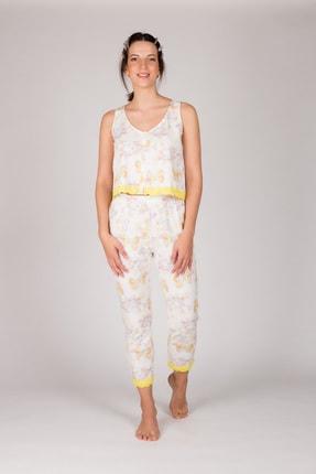 Hays Kadın Sarı Kolsuz Midi Pijama Takımı