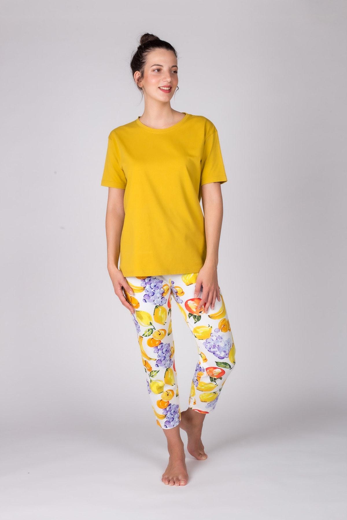 Hays Kadın Hardal Kısa Kollu Midi Pijama Takımı 1