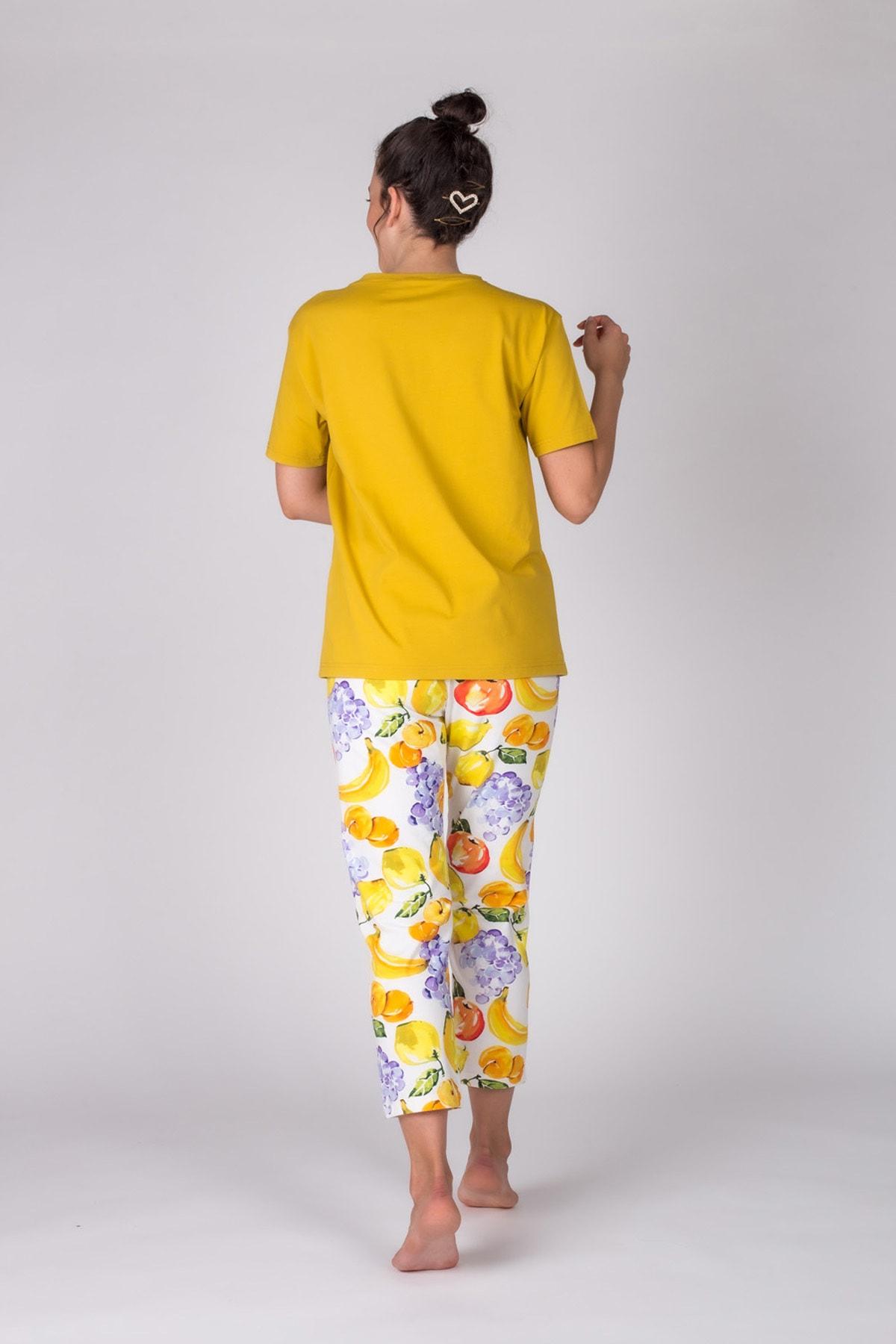 Hays Kadın Hardal Kısa Kollu Midi Pijama Takımı 2