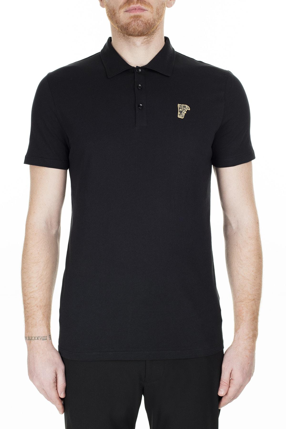 VERSACE COLLECTION Erkek Siyah Polo Yaka T-Shirt V800708 Vj00180 V9001