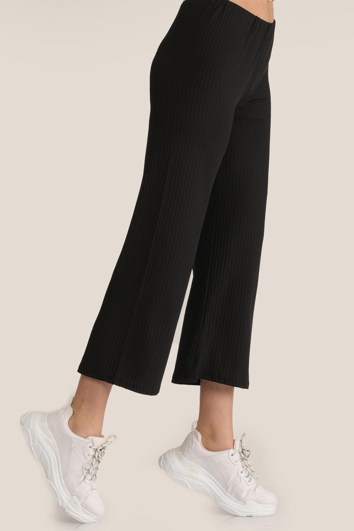 MD trend Kadın Siyah Salaş Bol Pantolon Mdt4885 2