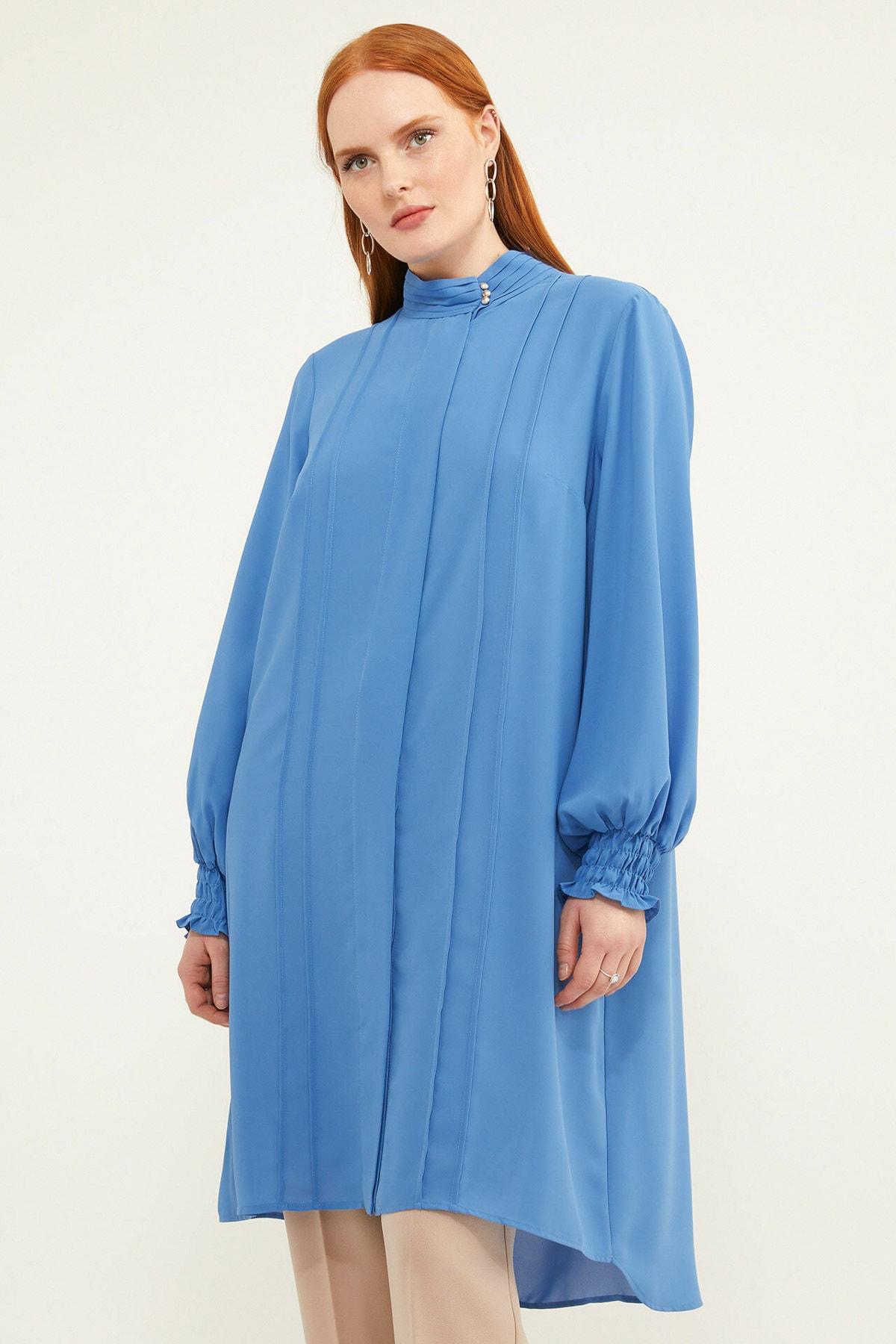 Aker Kadın Büyük Beden Biyeli Mavi Tunik V158970110 2