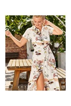 Misela Bayan Kısakol Çiçekli Desenli Elbise