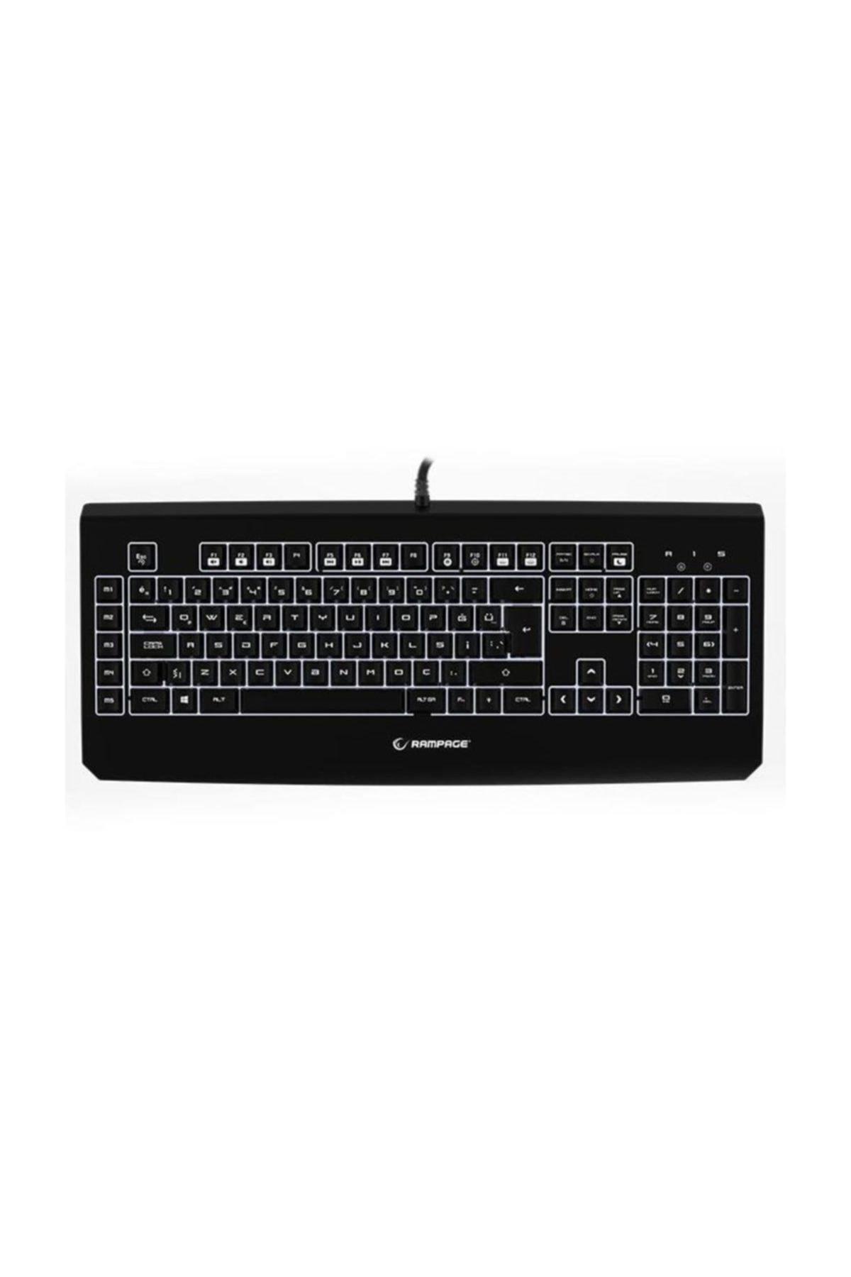 Rampage KB-R12 TURRET Siyah USB Beyaz Aydınlatmalı Makrolu Q Mekanik Gaming Klavye 1