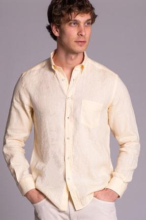 Dufy Sarı Keten Düz Erkek Gömlek - Slım Fıt