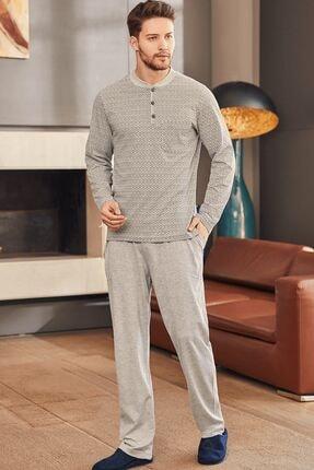 Mecit Pijama 2759 Büyük Beden Erkek Pijama Takımı - Gri
