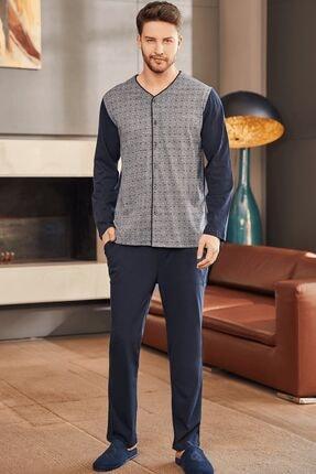 Mecit Pijama 2756 Büyük Beden Erkek Pijama Takımı - Lacivert