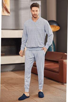 Mecit Pijama 2757 Büyük Beden V Yaka Erkek Pijama Takımı - Mavi