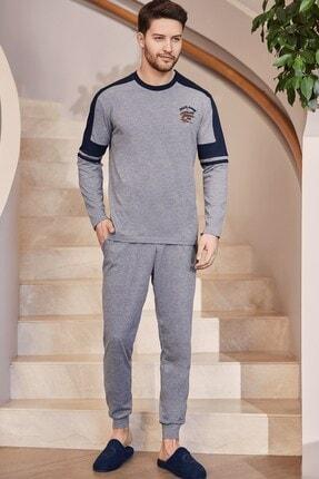 Mecit Pijama 2752 Lacivert Erkek Spor Pijama Takımı-gri