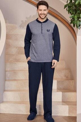 Mecit Pijama 2751 Jakarlı Büyük Beden Erkek Pijama Takımı - Lacivert