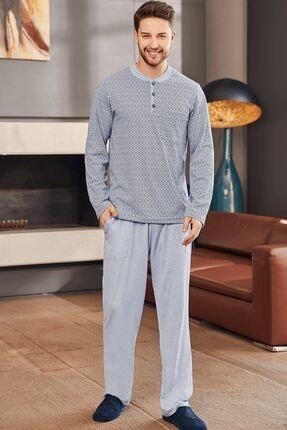 Mecit Pijama 2759 Büyük Beden Erkek Pijama Takımı - Mavi