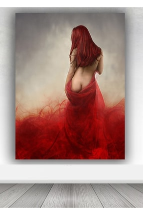 Shop365 Kırmızı Nü Bayan Dev Kanvas Tablo 100x140 Cm Sb-9589