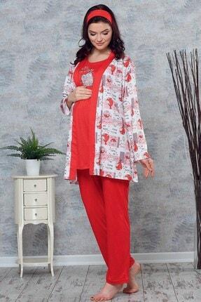 Lohusa Sepeti 3715 My Baby Kırmızı Sabahlıklı Lohusa Pijama Takımı