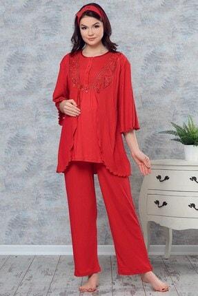 Lohusa Sepeti 3737 Nora Kırmızı Sabahlıklı Lohusa Pijama Takımı