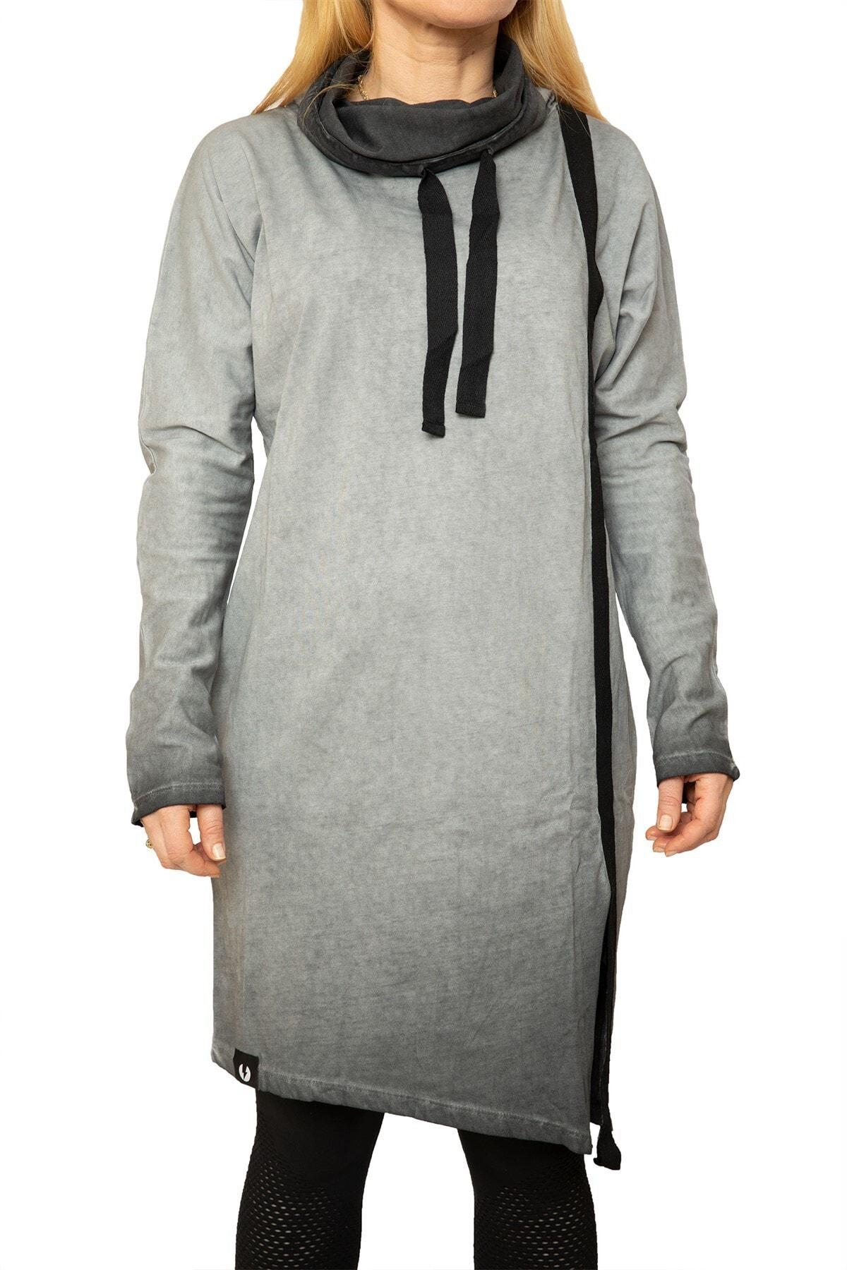 Rockupy Kadın Gri Asimetrik Elbise 1