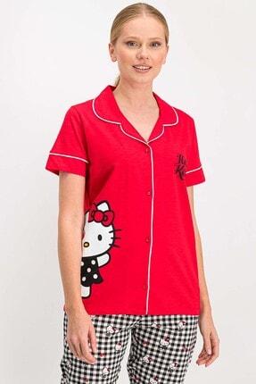 Hello Kitty Kadın Lisanslı Kırmızı Gömlek Pijama Takımı