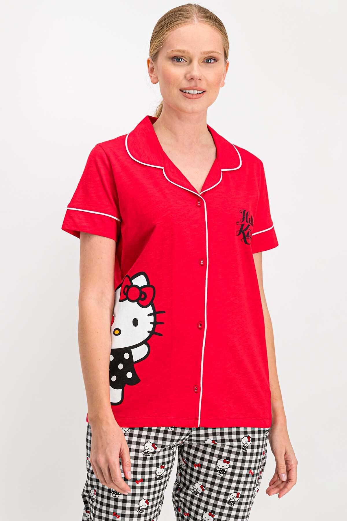 Hello Kitty Kadın Lisanslı Kırmızı Gömlek Pijama Takımı 1