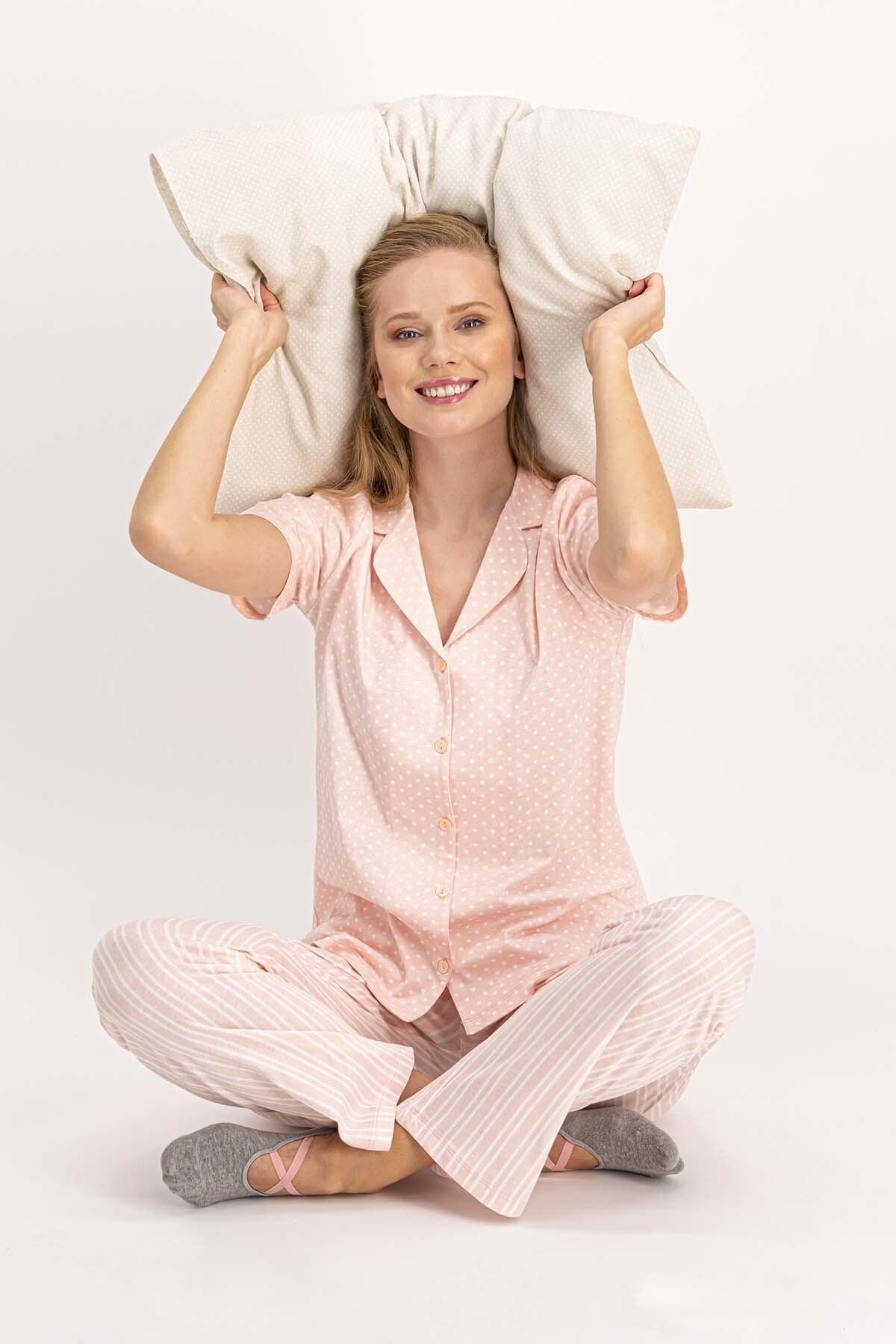 Arnetta Living Somon Kadın Gömlek Pijama Takımı 1