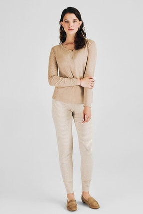 Pheri Kadın Beige Melange Pijama Takım  W1028