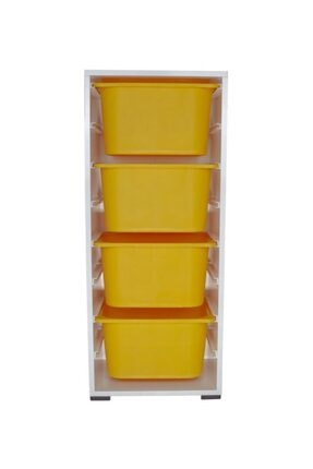 Pratico 4 Büyük Sarı Sepetli Oyuncak Dolabı