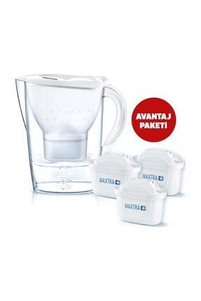 BRITA Marella XL Akıllı Beyaz Sürahi 3 ADET Maxtra+ Plus Filtreli 3.5 Lt.