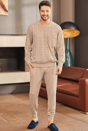 Mecit Pijama Erkek Pijama Takımı - Kahverengi