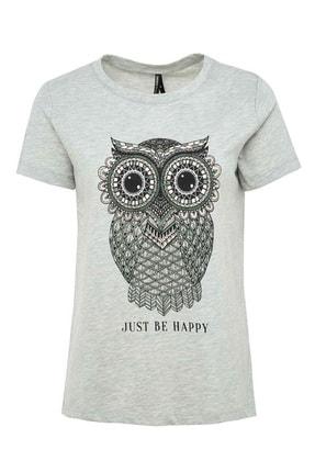 DeFacto Kadın Gri Baykuş Baskılı Kısa Kollu T-Shirt N9618AZ.20SM.GR210