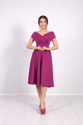 giyimmasalı Kayık Yaka Midi Elbise - Mürdüm