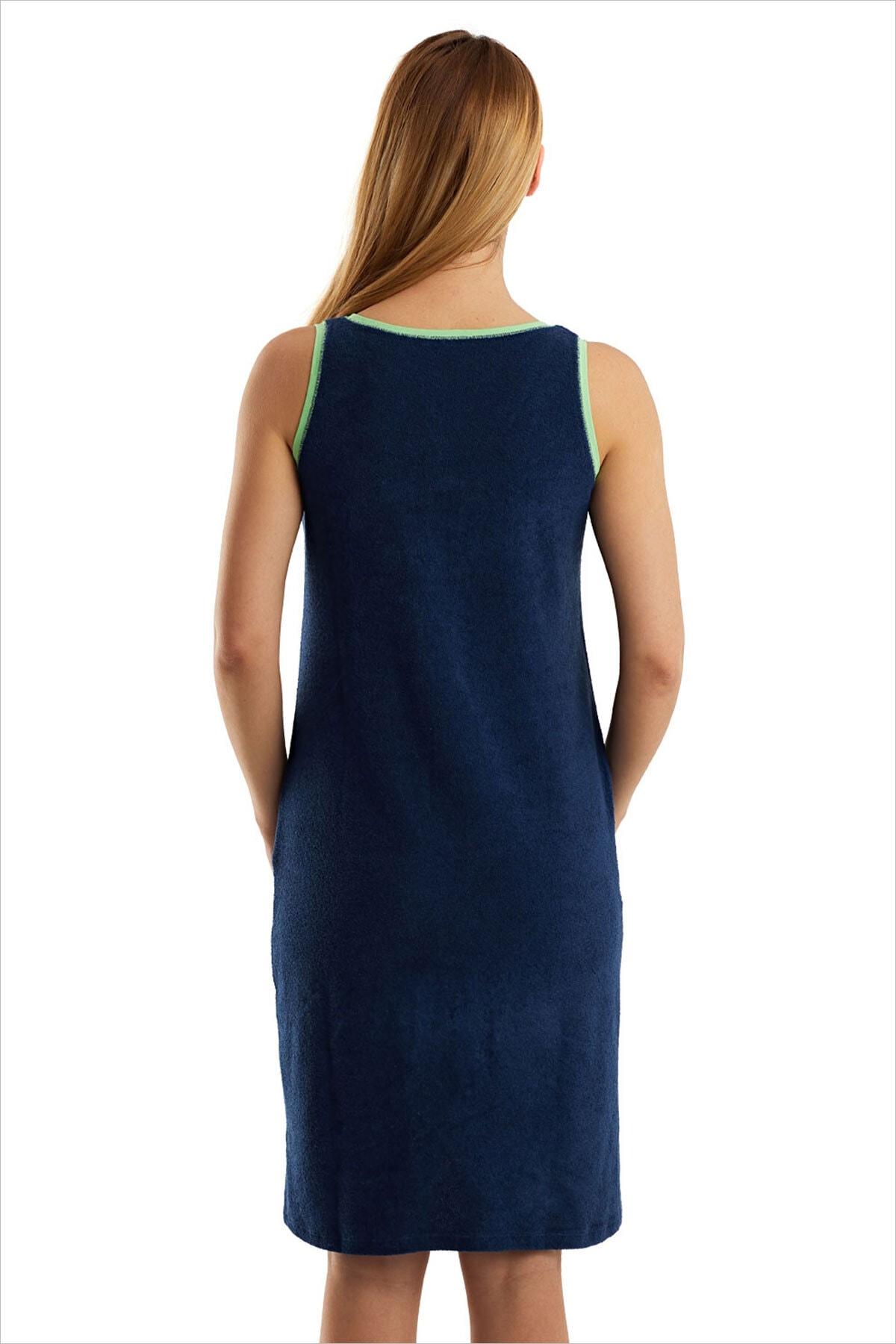 AYYILDIZ Kadın Lacivert Havlu Plaj Elbisesi 59492 2